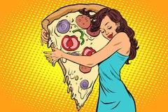 Woman hugging a pizza. The love of food. Comic book cartoon pop art retro vector illustration drawing stock illustration