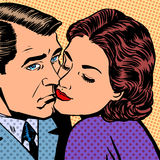 Woman hugging a sad man style pop art retro Royalty Free Stock Image