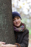 Woman hugging a tree Royalty Free Stock Photo