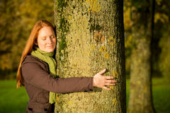 Woman Hugging a Tree Royalty Free Stock Photos