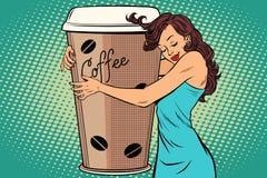 Woman hugs coffee Cup Royalty Free Stock Photos