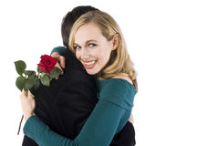 A woman hugs her lover Royalty Free Stock Photo