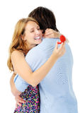 Woman hugs man happily Royalty Free Stock Photography