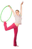 Woman with hula hoop Stock Photos