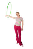 Woman with hula hoop Royalty Free Stock Photo