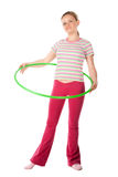 Woman with hula hoop Royalty Free Stock Image