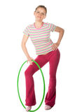 Woman with hula hoop Stock Photo