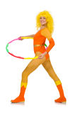 The woman with hula hoop isolated on white Stock Photography