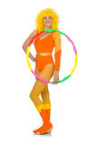 The woman with hula hoop isolated on white Stock Image