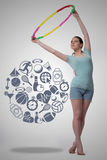 The woman with hula loop in sport concept