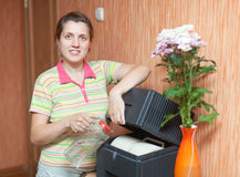 Woman  with humidifier Stock Image