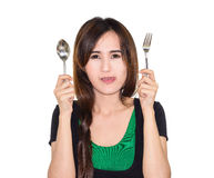 Woman hungry Stock Photography