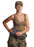 Woman hunter with a cartridge belt. Stock Image
