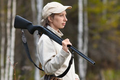 Woman hunter Stock Image