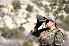 Woman Hunting Looking Through Binoculars Stock Images