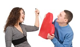 Woman hunting mans heart. Over white background stock images