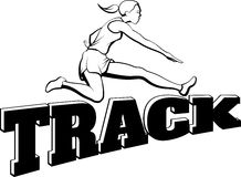 Woman Hurdling Over Track Royalty Free Stock Photos