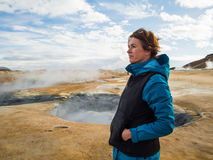 Woman at Hverir, a geothermal area in northern Iceland Royalty Free Stock Photo