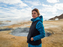 Woman at Hverir, a geothermal area in northern Iceland Stock Photography