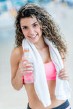 Woman hydrating after the gym Royalty Free Stock Photography