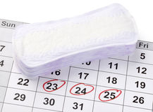 Woman hygiene. Close up of woman hygiene protection on a calendar royalty free stock image