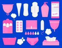 Woman hygiene products - tampon, menstrual cup, sanitary, pills. Vector flat big illustration set.  vector illustration