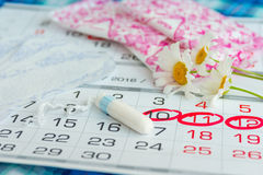 Woman hygiene protection , calendar close up.menstruation with cotton swabs , white daisies, Sanitary napkins on a light backgroun. D Stock Image