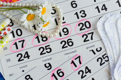 Woman hygiene protection, close-up.menstruation calendar with cotton tampons Stock Photos