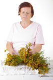 Woman with hypericum Stock Photo
