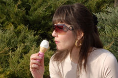 Woman with ice cream stock photos