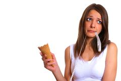 Woman with ice cream 14. Photo of young woman with ice cream Royalty Free Stock Photos