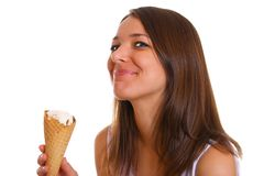Woman with ice cream 2. Photo of the young woman with the ice cream Stock Image