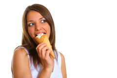 Woman with ice cream 4 Royalty Free Stock Image