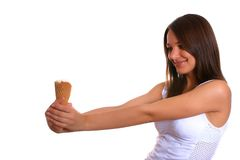 Woman with ice cream 5. Photo of the young woman with ice cream Royalty Free Stock Photos