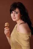 Woman with ice cream Royalty Free Stock Image