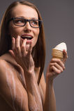 Woman with ice-cream. Stock Images