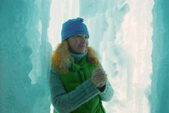 Woman in ice grotto Royalty Free Stock Images
