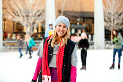 A woman at the ice rink Royalty Free Stock Images