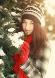Woman with ice skate Stock Photo