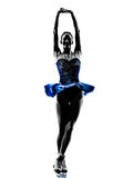 Woman ice skater skating silhouette Royalty Free Stock Photography