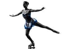 Woman ice skater skating silhouette Stock Photos