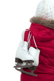 Woman with ice skates from the back Stock Photo