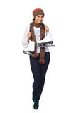 Woman with ice skates. Full length of smiling young woman wearing warm hat and scarf carrying a pair of ice skates, over white background Stock Photography