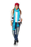 Woman with ice skates. Smiling young woman carrying a pair of ice skates over white background Stock Images