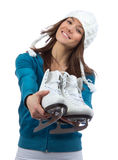 Woman ice skates for winter  ice skating Royalty Free Stock Images
