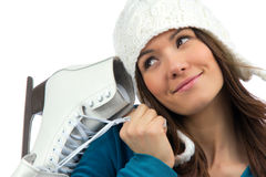 Woman with ice skates winter sport activity. Pretty woman with ice skates winter sport activity in white cap smiling facial close-up isolated on a white Royalty Free Stock Images