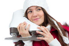 Woman ice skating winter sport activity Royalty Free Stock Images