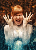 Woman from ice to fire. Woman from icu to fire, abstract Royalty Free Stock Images