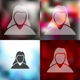 Woman icon on blurred background Stock Images