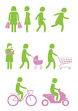 Woman icon in various actions. Green woman icon in various actions Vector Illustration